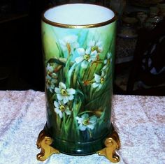 Large & Impressive Limoges France 1900s Hand Painted White Daffodils 15-7/8 Footed Lion Paws Vase