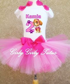 Girls Skye Paw Patrol Birthday Party Outfit | GirlyGirlTutus ...