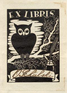 ex libris O Schülski's watchful owl