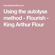 Using the autolyse method - Flourish - King Arthur Flour