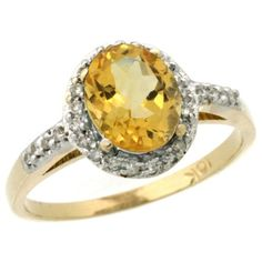 10K Yellow Gold Diamond Natural Citrine Ring Oval 8x6mm, 3/8 inch wide, size 7.5 Gabriella Gold