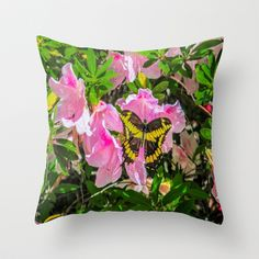 pink flowers with a butterfly Pillow #giftsforher