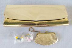 1960s Vintage Gold Lame' Envelope Clutch Purse by MyVintageHatShop
