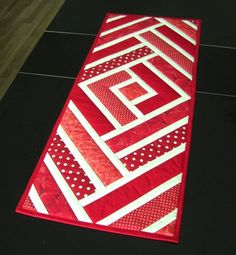 Quilted table runner red and handmade bright modern ceiling table topper rustic decor patchwork - Quilted Table Runners Red and Handmade by TextileHomeware More - Patchwork Table Runner, Table Runner And Placemats, Table Runner Pattern, Quilted Table Runners, Plus Forte Table Matelassés, Patchwork Quilting, Quilts, Seminole Patchwork, Hexagon Patchwork