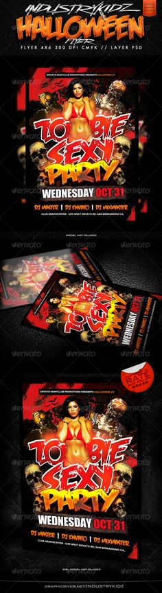 Summer Flyer Bundle Party flyer, Flyer template and Font logo - zombie flyer template