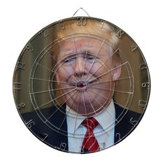Anti President Donald Trump Dartboard - tap to personalize and get yours  #donald #trump #dartboard Donald Trump Baby, Custom Dart Board, Anti Hillary, Theatre Of The Absurd, Indoor Activities, Indoor Games, Political Art, Presidential Election, American Flag