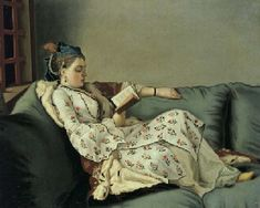 JEAN-ETIENNE LIOTARD (Geneva 1702-1789)  'La sultane lisant'; a lady in Turkish costume reading on a divan