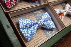 Liberty of London floral bow ties in vintage packaging. LV Made in England