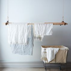 Airer | Vintage wooden drying rack | Adjustable | White linen | Laundry | Cleaning