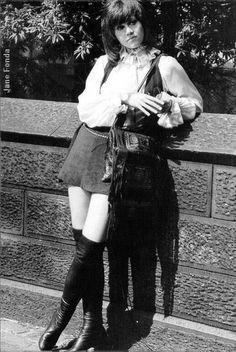Image detail for -boots-jane-fonda-miniskirt. 60s And 70s Fashion, Retro Fashion, Girl Fashion, Vintage Fashion, Fashion Tips, Vintage Beauty, Fashion History, Fashion Dresses, Jane Fonda Klute