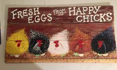 This super cute sign is ready to ship ! Or you may order a Custom Sign ......YOU CHOOSE YOUR OWN WORDS and colors of chickens and roosters to custom make this sign! (list of word ideas below)Or you may choose no words. If you have an idea you would like me to paint on your sign, please let me know to custom make the entire sign. This sign is very large. This sign measures 32 in x 16in x 1/2 in. Painted on weathered rustic cedar. Sign is sealed after painting for inside or outside.There i...