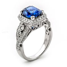Fink's Jewelers - Fink's Cushion Cut Sapphire and Diamond Ring, $19,700.00 (http://finksjewelers.com/finks-cushion-cut-sapphire-and-diamond-ring/)