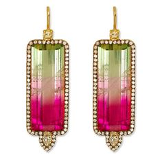 Jemma Wynne earrings: Watermelon Tourmaline, Diamond, and Gold Earrings. it must have been difficult for the designed to find this amazing pair. I watermelon tourmaline Gems Jewelry, I Love Jewelry, Jewelry Accessories, Fine Jewelry, Jewellery Earrings, Unique Earrings, Hoop Earrings, Bijoux Art Deco, 18k Gold Earrings