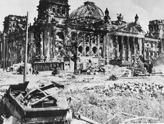 World War II - Berlin:  The wrecked Reichstag building, with a destroyed German military vehicle in the foreground, at the end of the war. (AP Photo)