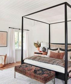 neutral bedroom design, neutral Master Bedroom decor with white walls, white bed. Rustic Master Bedroom, Modern Farmhouse Bedroom, Master Bedroom Design, Home Bedroom, Bedroom Ideas, Bedroom Inspiration, Rustic Farmhouse, Rustic Bedroom Furniture, Mid Century Modern Bedroom