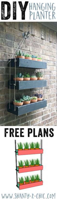 Build this DIY Hanging Planter to add warmth and life to your outdoor space! Also a fun piece to bring indoors! Free plans and how-to video at DIY Outdoor Wall Planter, DIY Planter, DIY Wall Planter, Hanging Planter DIY, Hanging Planter with Rope Diy Hanging Planter, Diy Planters, Outdoor Wall Planters, Pallet Planter Box, Garden Planters, Creative Wall Decor, Creative Walls, Outdoor Walls, Wood Projects