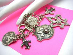 Whimsical Fleur de Lis Charm Silver Tone Bracelet by Catherine Popesco of France | eBay