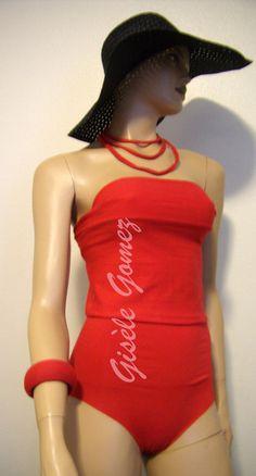 Red Monokini - Multi-way / Multi-Kini Faux one-piece Swimsuit: Bandeau, Bra or Bustier Tops worn with High-waist to low rise Bikini Bottoms