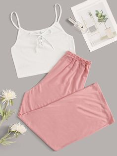 To find out about the Lace-up Cami Top With Pants PJ Set at SHEIN, part of our latest Pajama Sets ready to shop online today! Teen Fashion Outfits, Cute Fashion, Outfits For Teens, Fashion Sets, Cute Lazy Outfits, Stylish Outfits, Cool Outfits, Cute Pajama Sets, Pyjama Sets