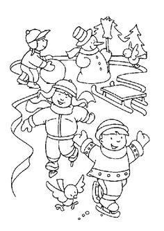 Dessin à colorier d'enfants profitant de la neige pour jouer aux patins à glaces