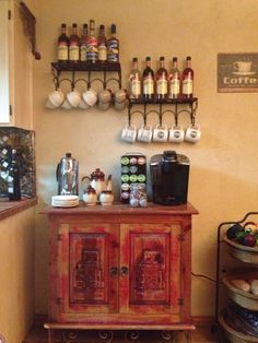 Coffee Bar, trying to get a new idea for my coffee area at work. Like this.