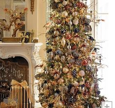 Golden traditional Christmas tree idea decor
