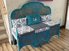 A Headboard & upside down Footboard turned into a Bench...these are the BEST Upcycled & Repurposed Ideas!