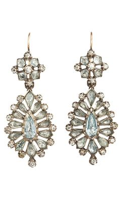 Olivia Collings Antique Jewelry Aqua Paste Earrings
