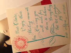 Lunchbox love note, mint green calligraphy