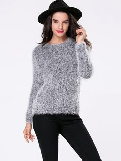 Round Neck Fluffy Sweater