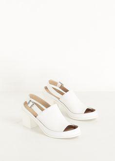 MM6 Maison Martin Margiela Chunky Heel Open Toe Sandal (White)