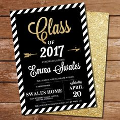 Graduation Invitation  Black and Gold Graduation Invitation