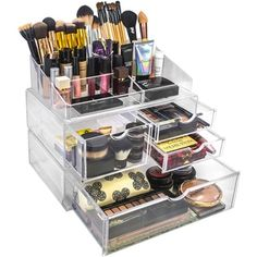 Acrylic X-Large 4 Drawer with Sectional Makeup Organizer - 18644623 - Overstock.com Shopping - Big Discounts on Makeup Cases