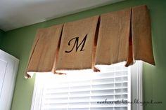 Kitchen: Stenciled Burlap Window Treatment