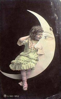Vintage paper moon postcard, handcolored.