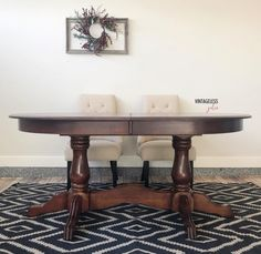 This pedestal-style table was refinished by VintagelessJules who restained with General Finishes Brown Mahogany Gel Stain.