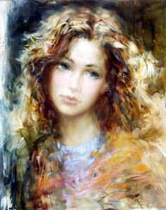 Portrait by Lithuanian artist Stanislav Sugintas, born 1969   (love the hair)