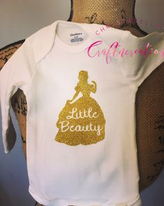 Little Beauty onesie, glitter gold Onesies, princess Onesies, Disney princess onesies, Etsy pins, Etsy buyable pins, belle, Cinderella, Pocahontas, mulan, tiana