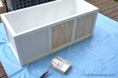 Learn how to make a rolling DIY outdoor storage box / bench for your patio or deck with this step by step tutorial. Diy Storage Furniture, Plywood Storage, Deck Furniture, Diy Furniture Projects, Repurposed Furniture, Pallet Furniture, Diy Projects, Deck Storage Bench, Outdoor Storage Boxes