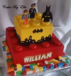 "Lego Movie Theme 10"" Vanilla w/Strawberry , 6"" Vanilla w/butter creamButter cream finishEmmet, Wyldstyle, and Batman are made of..."
