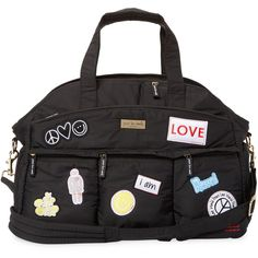 Peace Love World Women's Patch Detail Weekender Duffel - Black (1.134.580 IDR) ❤ liked on Polyvore featuring bags, luggage and black