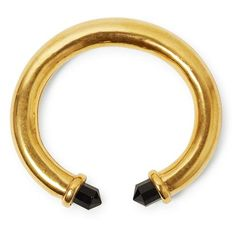 A statement cuff made of a goldplated brass hollow tube ending in faceted, black spinel crystals. Natural, hand cut gemstone with gold plated brass. Size: tube x Black Gold Chain, Gold Chains, Betty Design, Statement Earrings, Drop Earrings, Black Betty, Black Spinel, Geometric Shapes, Tube