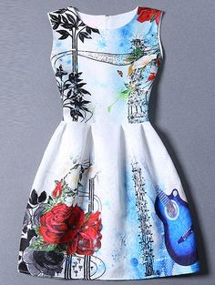 Multicolor Sleeveless Guitar Print Flare Dress -SheIn(Sheinside) Mobile Site