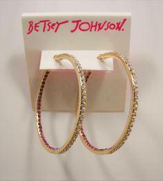 Betsey Johnson Casino Royale Pink & AB Crystal Hoop Gold Tone Earrings MSRP $38... Only $31.99 with free shipping! #BetseyJohnson #Hoop