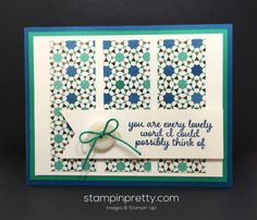 Love & Affection stamp set with a dash of Moroccan Designer Series Paper.  Thank you created by Mary Fish, Stampin' Up! Demonstrator.  1000+ StampinUp & SUO card ideas.  Read more http://stampinpretty.com/2016/07/its-a-blog-hop-pattern-party.html