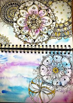 gel and ink mandala on watercolor background watercolor journal 5/16/13