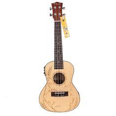 """Amazon.com: Kmise Soild Spruce Ukulele 24"""" Electro-Acoustic Concert Ukulele Hawaii Guitar: Musical Instruments"""