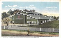 TN - Chickamauga Park Army YMCA Auditorium Vintage Linen Postcard, Chattanooga