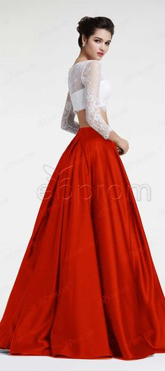 Ball gown two piece prom dresses long sleeves red prom dress white lace pageant dresses