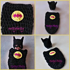 Batman Baby girl handmade crochet Set Hat and cocoon 0 to